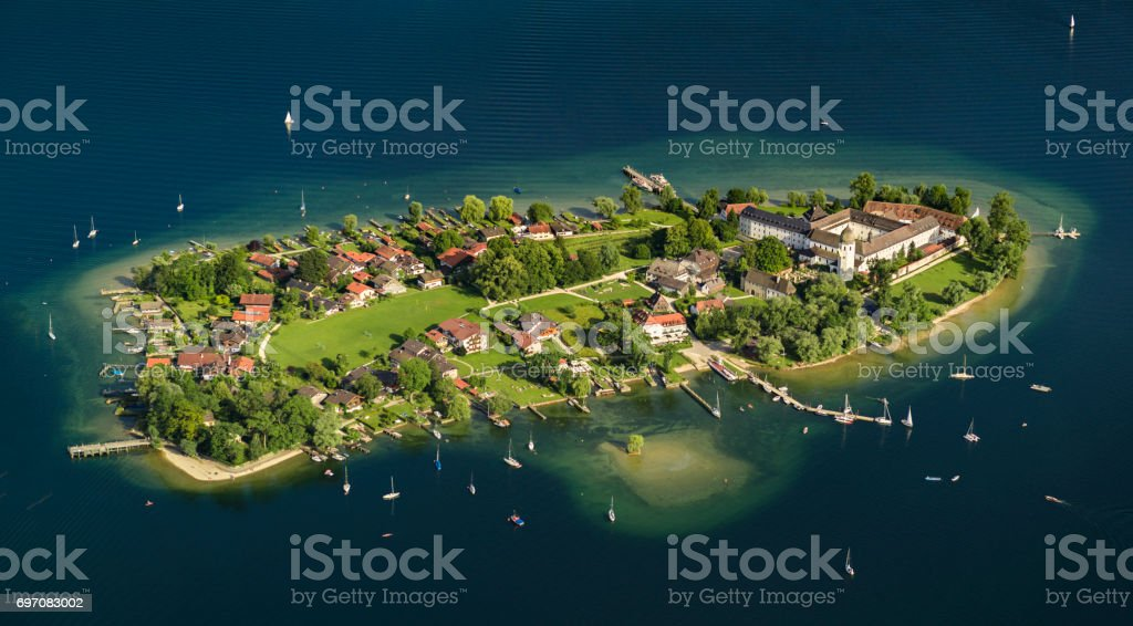 aerial view Fraueninsel chiemsee stock photo