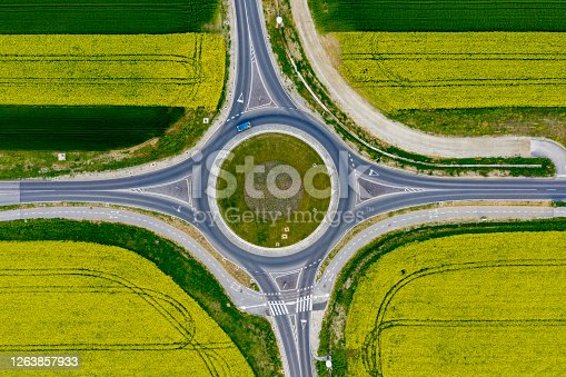 Drone view of roundabout with car driving