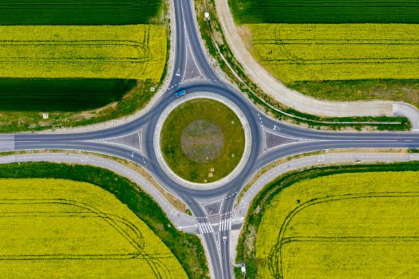 luchtfoto:direct boven het zicht op de rotonde - rotonde kruispunt stockfoto's en -beelden