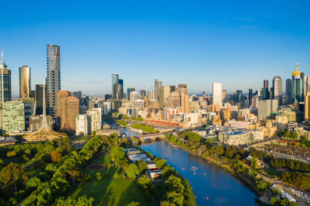 aerial viewof melbourne cbd in the morning - melbourne australia foto e immagini stock