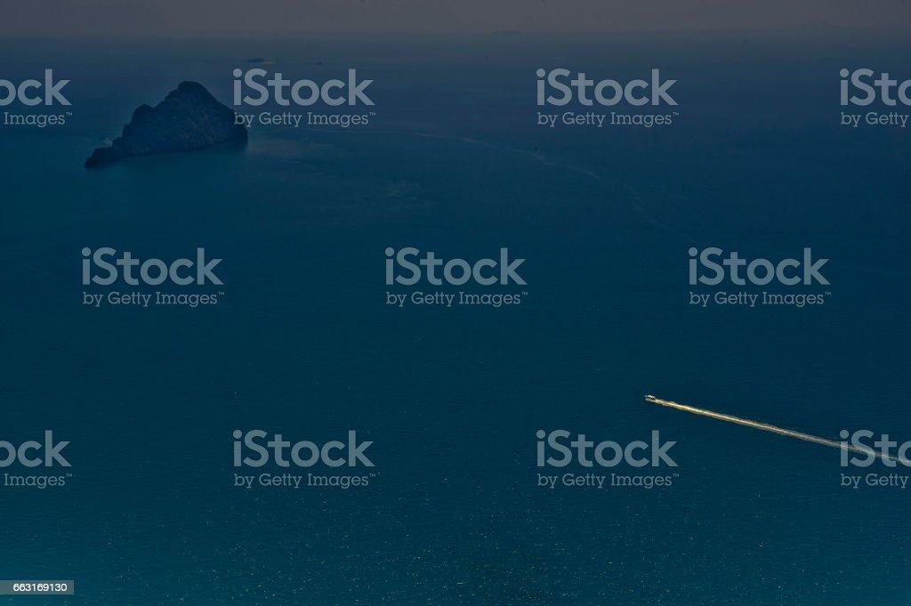Aerial views east across Phang Nga Bay, Phuket, Thailand towards Phuket island. stock photo