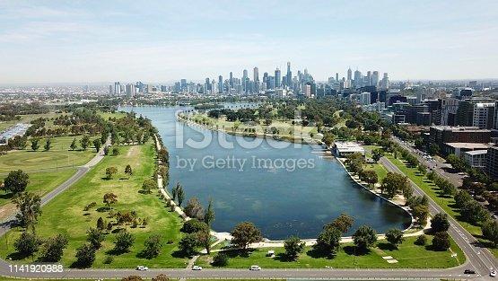 Aerial views of Albert Park Lake