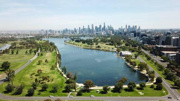 aerial views of albert park lake - victoria australia foto e immagini stock