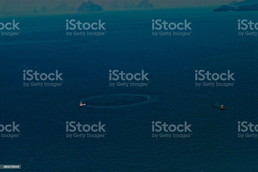 Aerial Views of Fishing boat in Phang Nga Bay, Phuket, Thailand stock photo