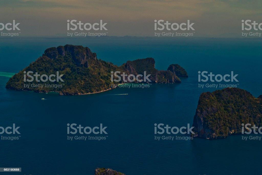 Aerial Views of Ko Po Dau Nok Island, Phang Nga Bay, Phuket, Thailand stock photo