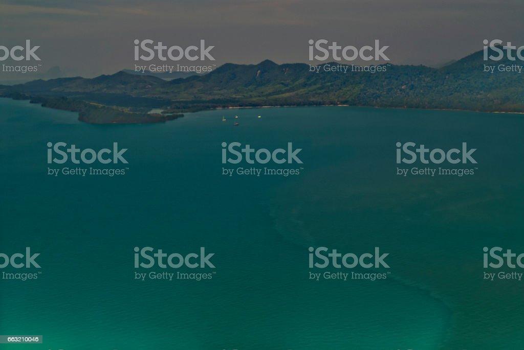 Aerial Views of Ko Yau Yai Island, Phang Nga Bay, Phuket, Thailand stock photo
