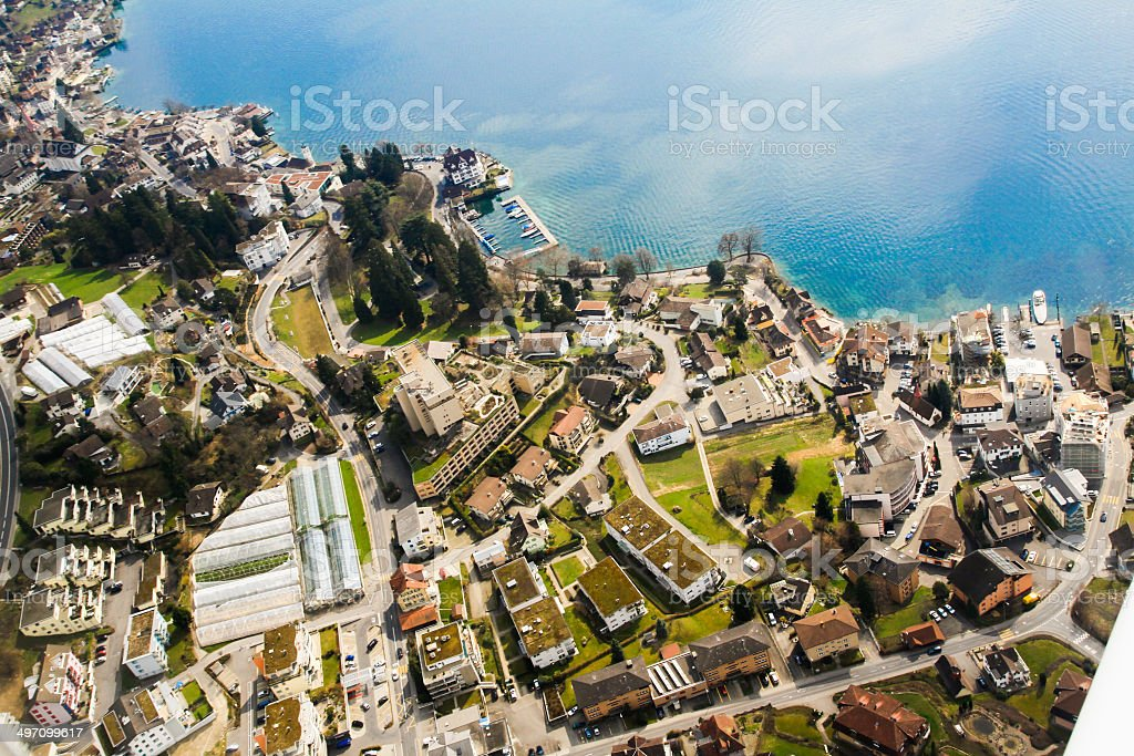 Aerial views of Lucerne region landscape royalty-free stock photo
