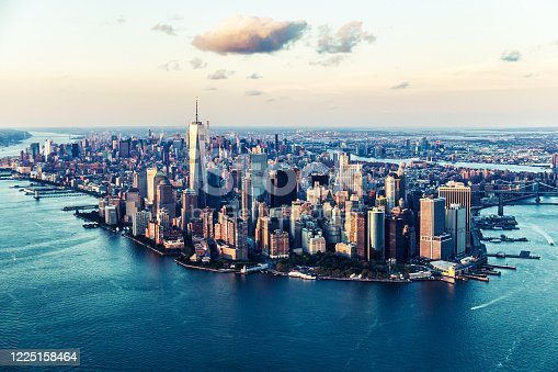 New York City, USA, Aerial View, Manhattan - New York City, Urban Skyline