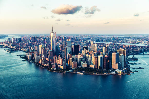 Aerial Views of Manhattan Island, New York - Cities under COVID-19 Series New York City, USA, Aerial View, Manhattan - New York City, Urban Skyline new york state stock pictures, royalty-free photos & images