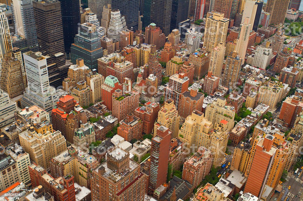 Aerial views of New York City, USA stock photo