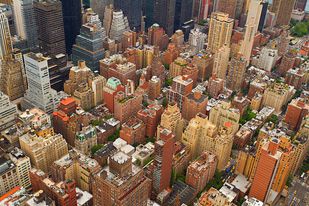 Aerial views of New York City, USA stock photo