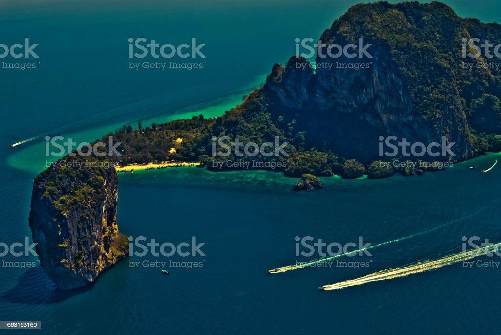 Aerial Views of Poda Island, Phang Nga Bay, Phuket, Thailand stock photo