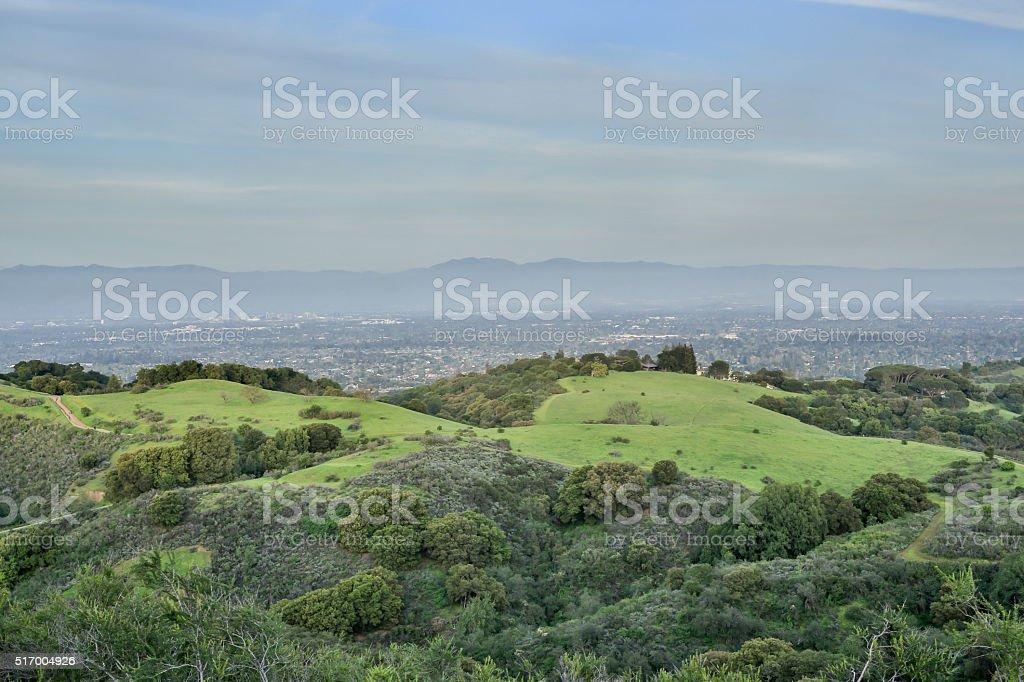 Aerial views of San Francisco Mid-Peninsula stock photo