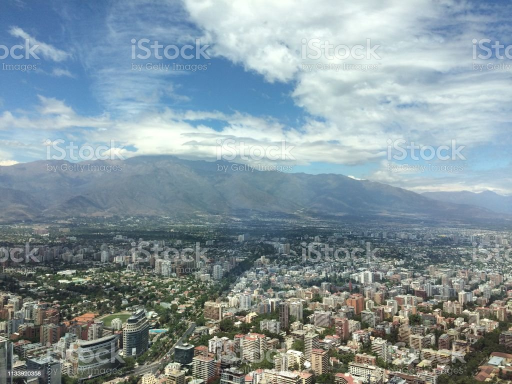 Aerial Views of Santiago, Chile stock photo