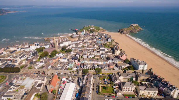 Aerial views of Tenby on the South Pembrokeshire coast Wales, UK stock photo