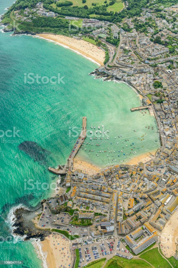 Aerial Views over St. Ives, Cornwall, England on a bright June day. stock photo