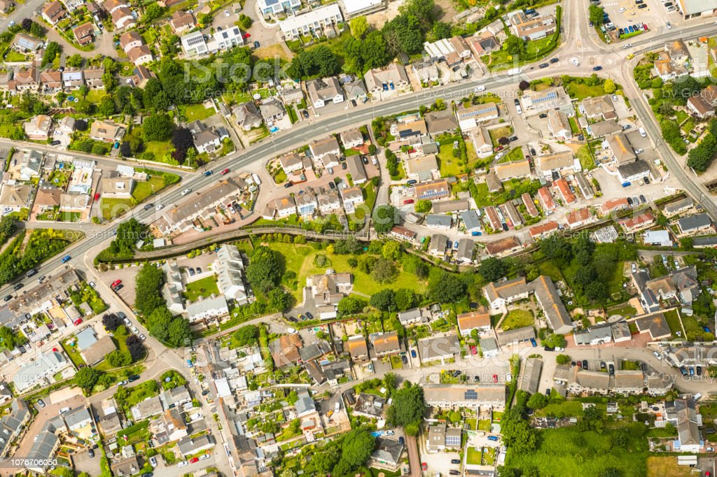 Aerial views over suburban houses, Hayle, Cornwall on a sunny June day. stock photo