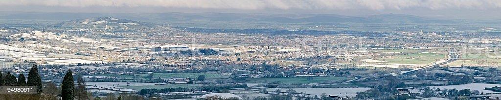 Aerial vista town suburbs fields royalty-free stock photo