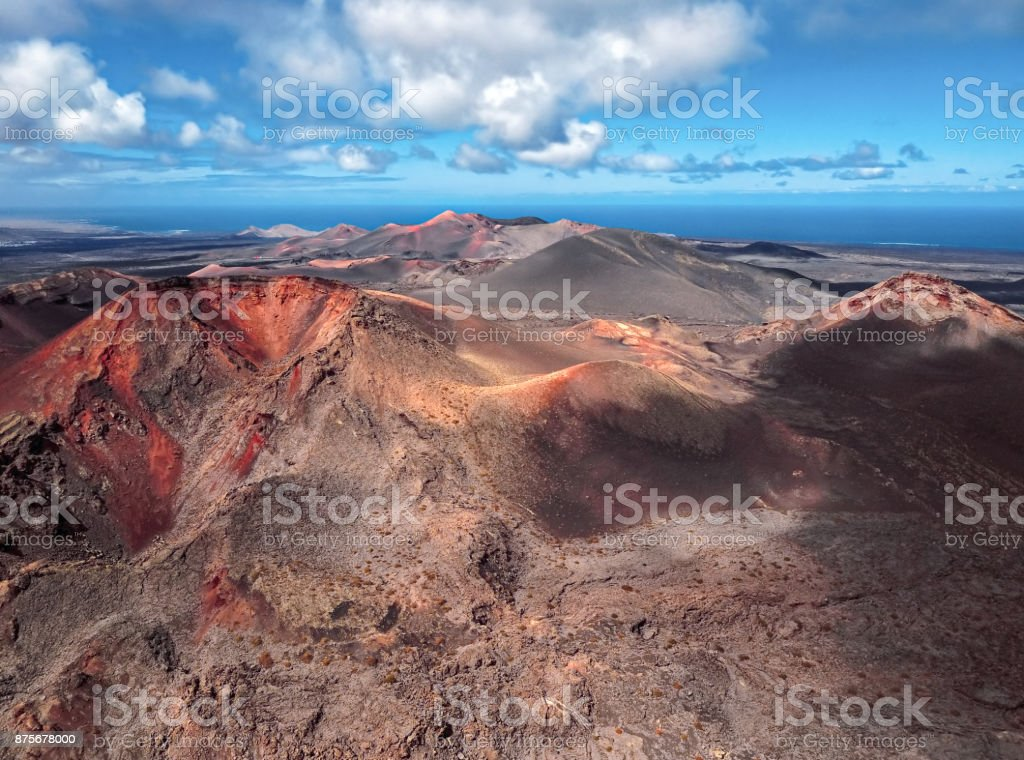 Aerial volcanic landscape in Timanfaya National Park, Lanzarote, Canary Islands stock photo