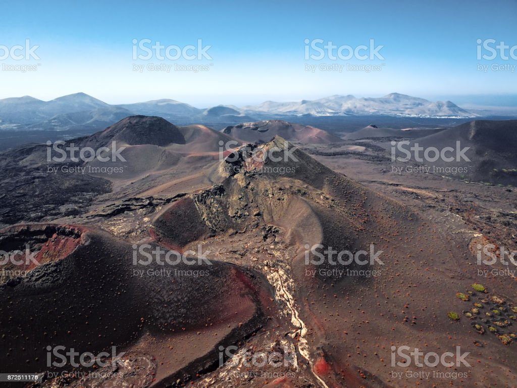 Aerial volcanic landscape, Timanfaya National Park, Lanzarote, Canary Islands stock photo