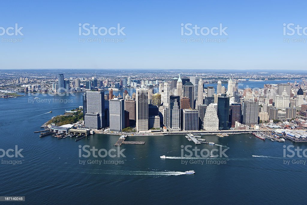 aerial waterfront manhattan royalty-free stock photo