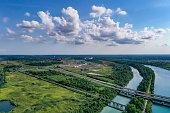 istock Aerial Welland Canal and Twin Flight Locks in  Allanburg, St. Catharines, Canada 1331202684