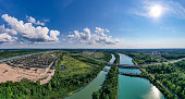 istock Aerial Welland Canal and Twin Flight Locks in  Allanburg, St. Catharines, Canada 1331202744