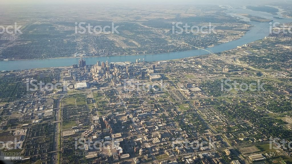 Aerial Windsor, Detroit Cityscape, Detroit River Seperating US and Canada stock photo