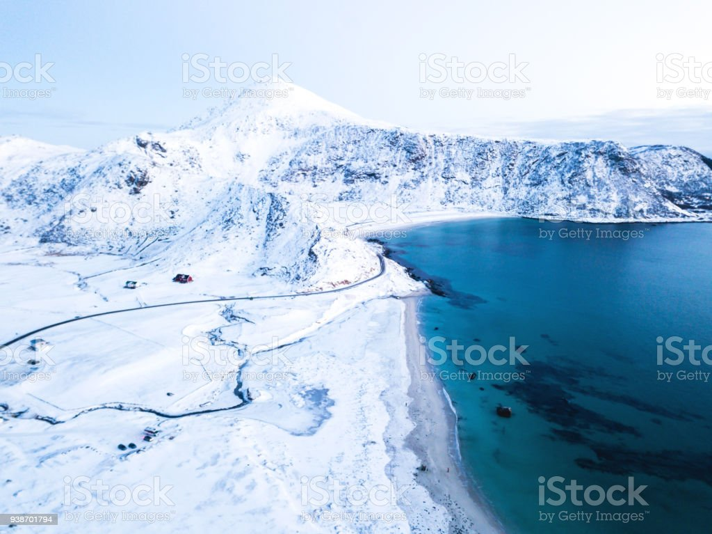 Aerial winter view of Lofoten Islands beach, Norway, shot from drone stock photo
