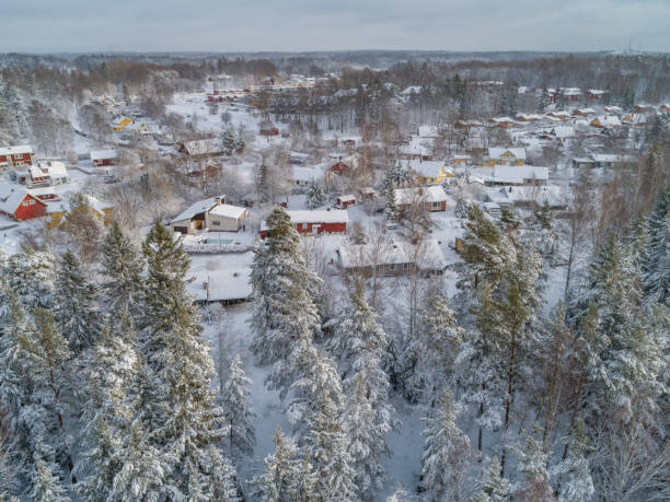 Aerial winter view over a small city stock photo