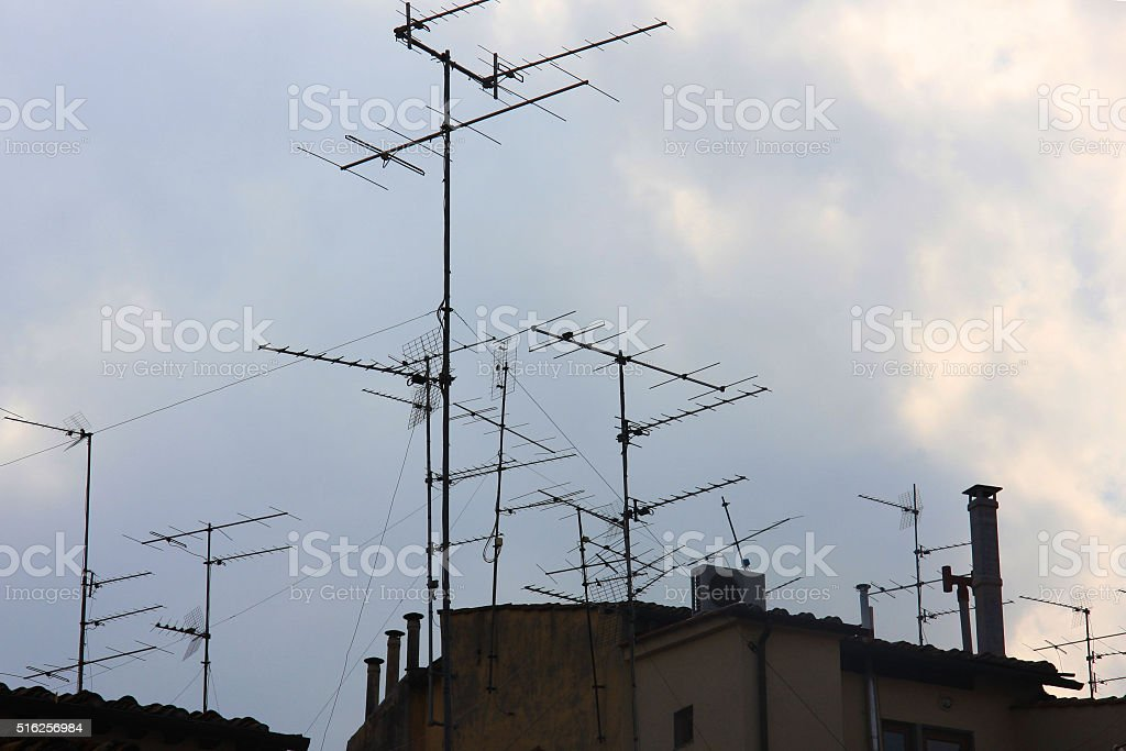 aerial wires stock photo