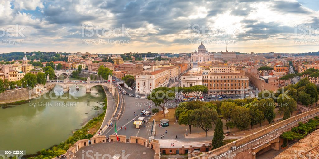 Aerial wonderful view of Rome at sunset, Italy stock photo