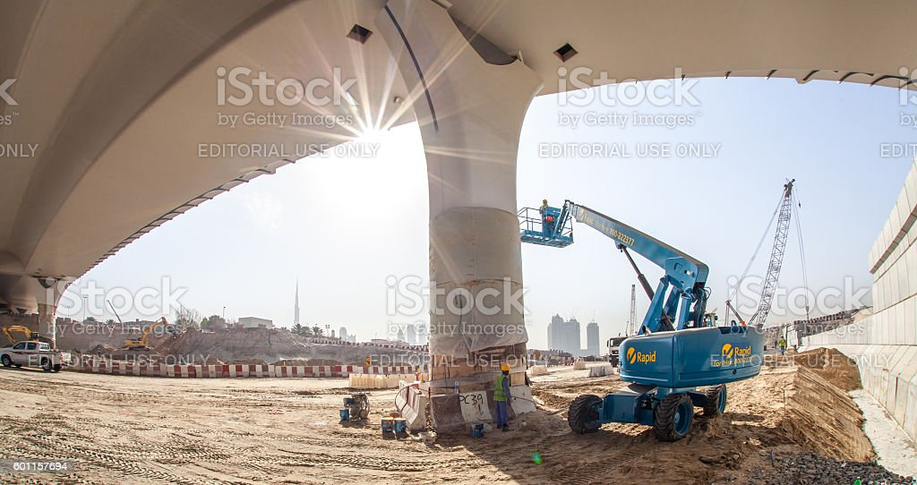 Aerial Work Platform working on Dubai Water Canal Project stock photo