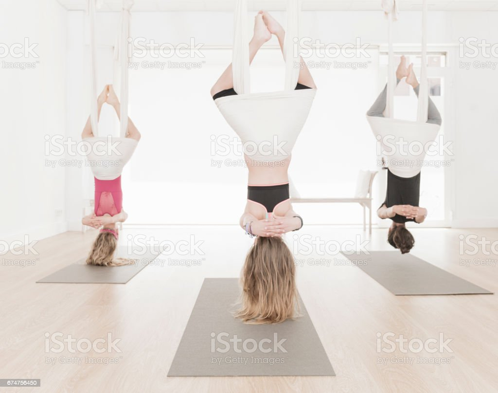 Aerial Yoga class for children stock photo