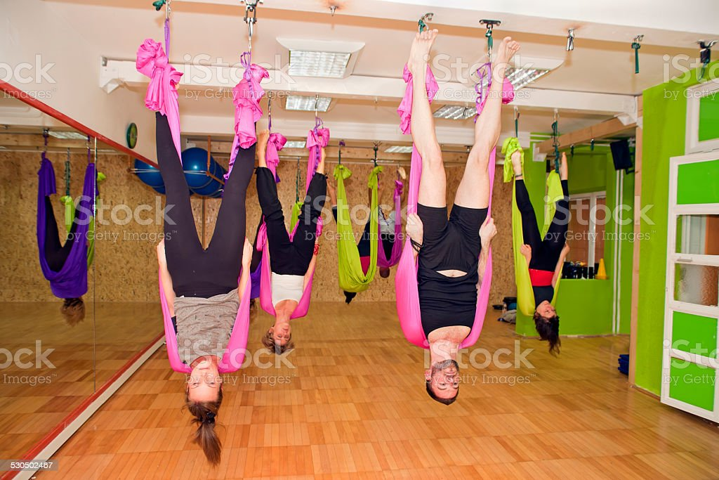 Aerial yoga stock photo