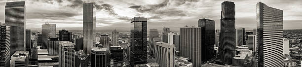Aerial/drone panorama of the city of Denver Colorado stock photo