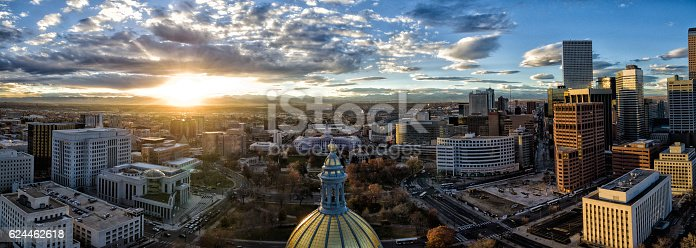 istock Aerial/Drone Panorama.  Sunset over the Capital building of Denver, Colorado 624462618