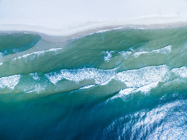 Aerial/Drone photo of Gulf Shores beaches.  Peninsula in Alabama stock photo