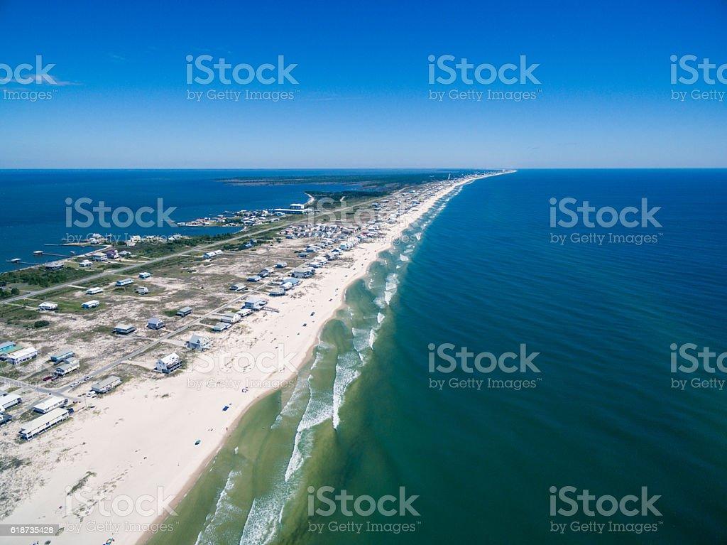 Aerial/Drone photo of Gulf Shores beaches.  Peninsula in Alabama stock photo