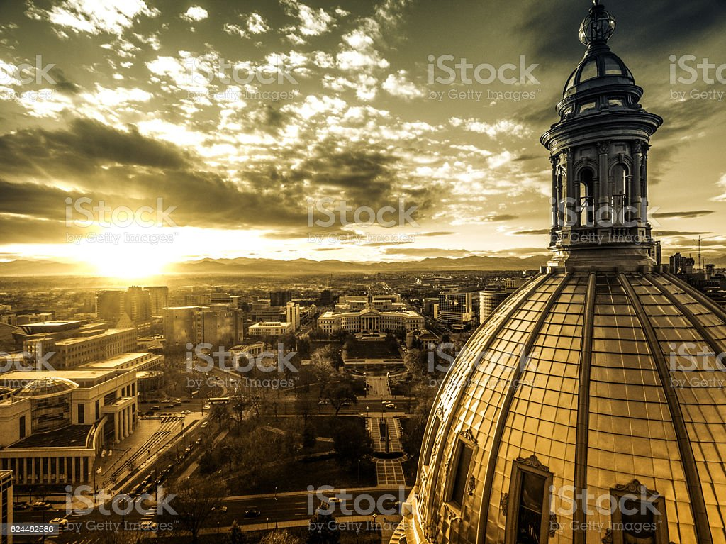 Aerial/Drone view.  Sunset over the Capital building of Denver, Colorado stock photo