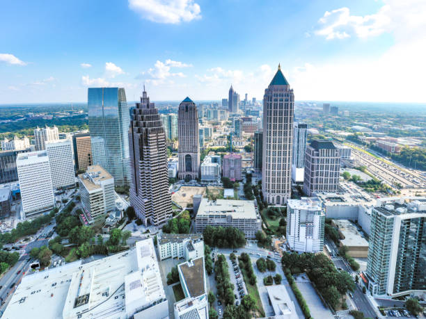 Aerial/Helicopter Panoramic picture of downtown Atlanta Skyline stock photo