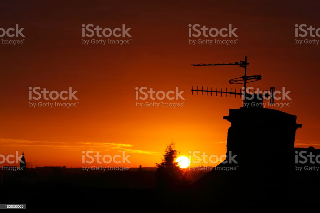 TV Aerials at sunrise royalty-free stock photo