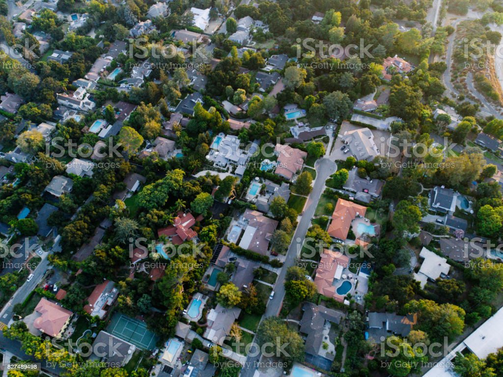 Aerials of Neighborhood stock photo