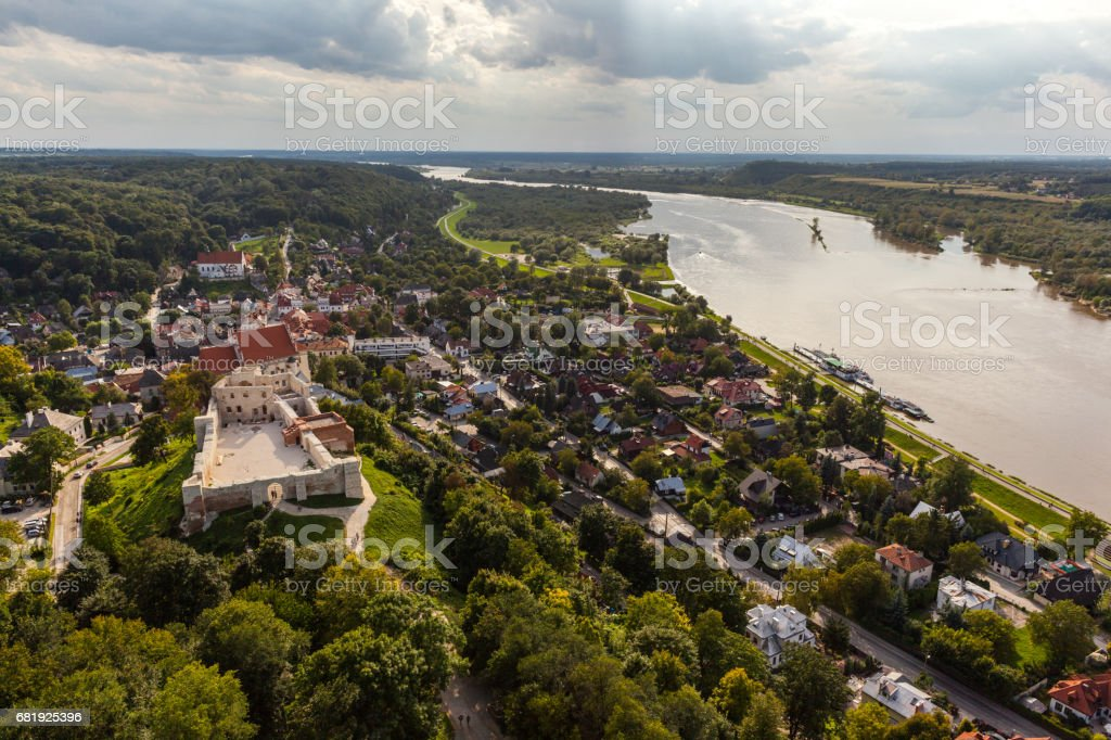 aerialview of the old town of Kazimierz Dolny on the Vistula in Poland stock photo