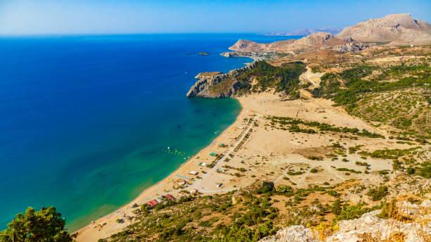 Aerian panoramic vew to the Tsampika beach in Rhodes, Greece stock photo