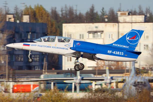 CHKALOVSKY, MOSCOW REGION, RUSSIA - OCTOBER 26, 2013: Aero L-39C Albatros of Roscosmos taking off at Chkalovsky. stock photo