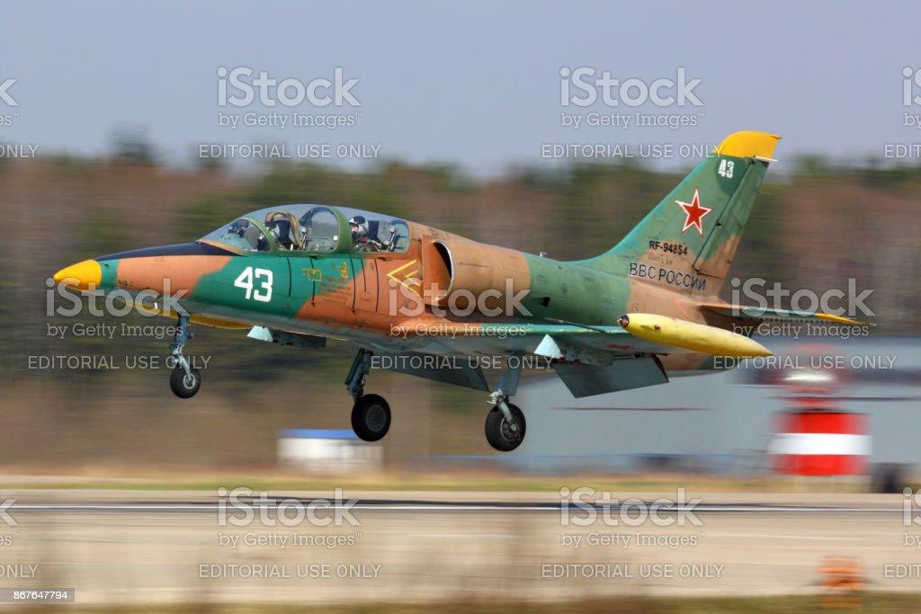 Aero L-39C Albatros of russian air force landing at Kubinka air force base. stock photo