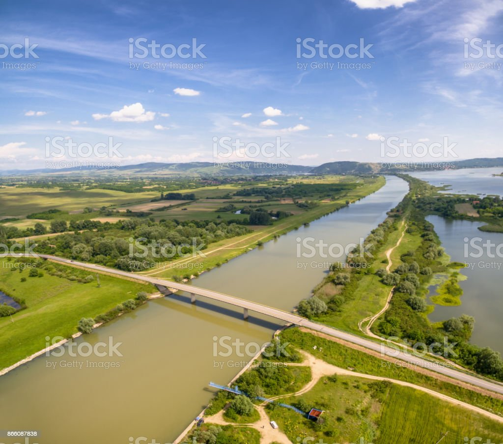 Aero photo od Road Bridge Across The River stock photo