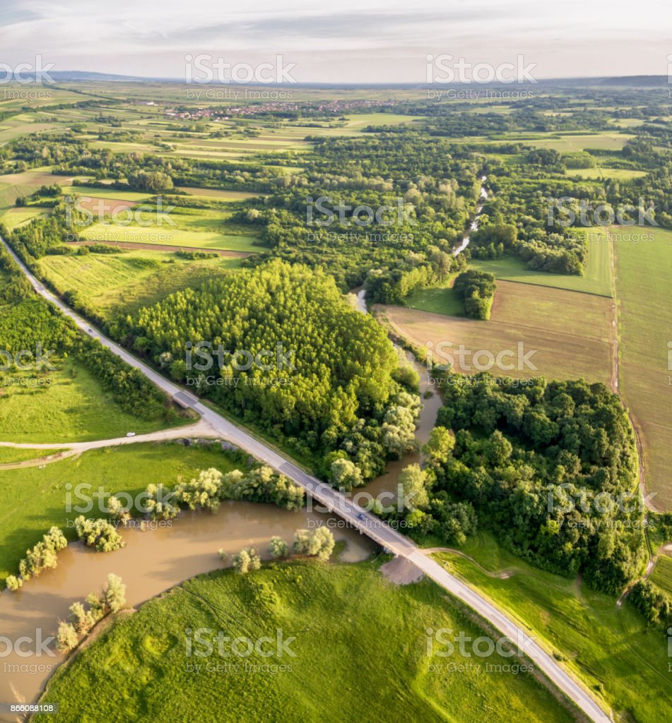 Aero photo of Road Bridge Across The River stock photo