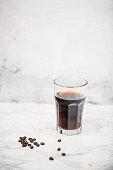 istock Aero press coffee preparation. Aeropress to fill glass with beverage Professional coffee brewing method 1059312936
